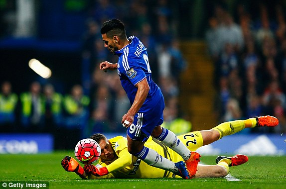 Radamel Falcao went down in the box but a penalty was not awarded by referee Robert Madley